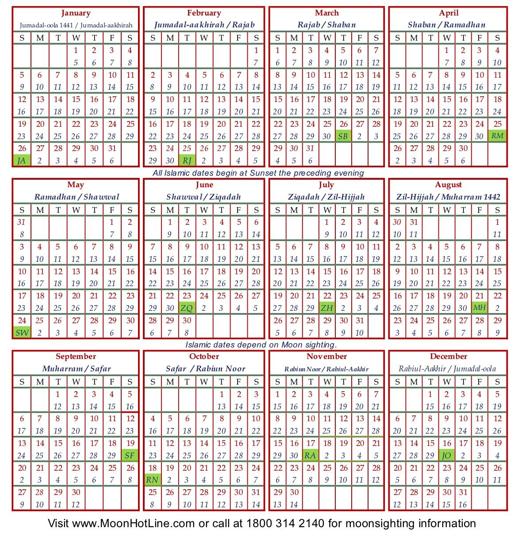 2020 Usa Calendar   Sunni Society with Islamic Calander 2020