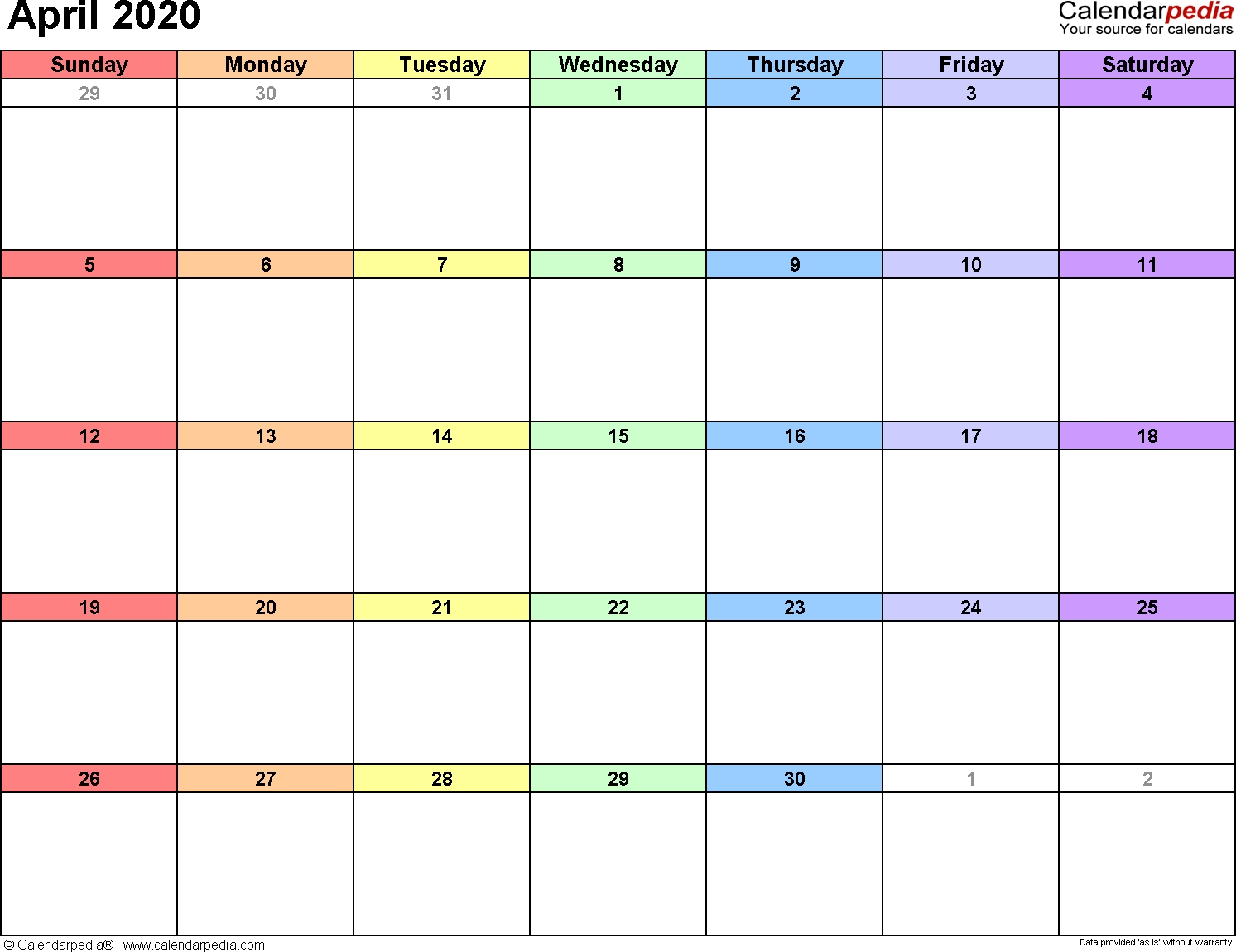 2020 Writable Calendar April 2020 | Example Calendar Printable with Writable December 2020 Calendar