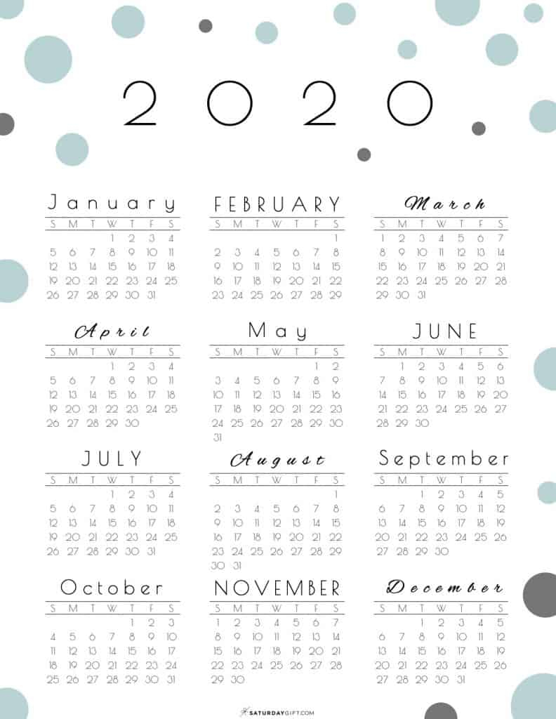 2020 Year At A Glance Calendar Printable  Yatay for 2020 At A Glance Calendar Printable