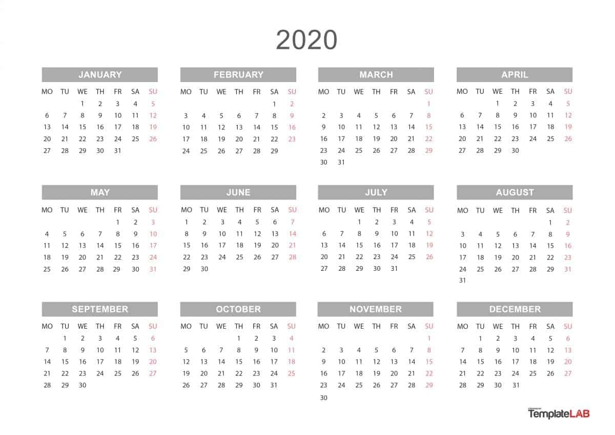 2020 Year At A Glance Free Printable Calendar  Calendar with 2020 Year At A Glance Printable