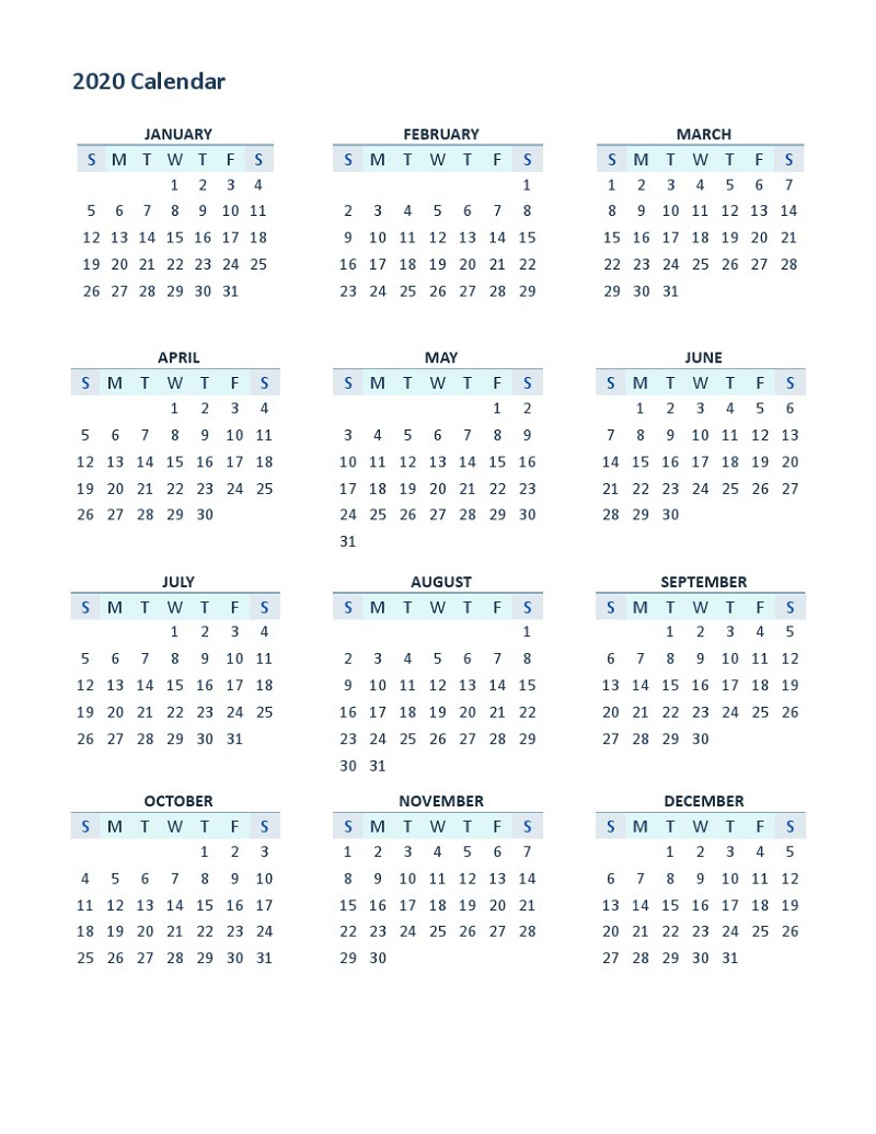 2020 Yearly Calendar Printable 12 Months | Calendar Shelter inside Printable 12 Month 2020 Calendar