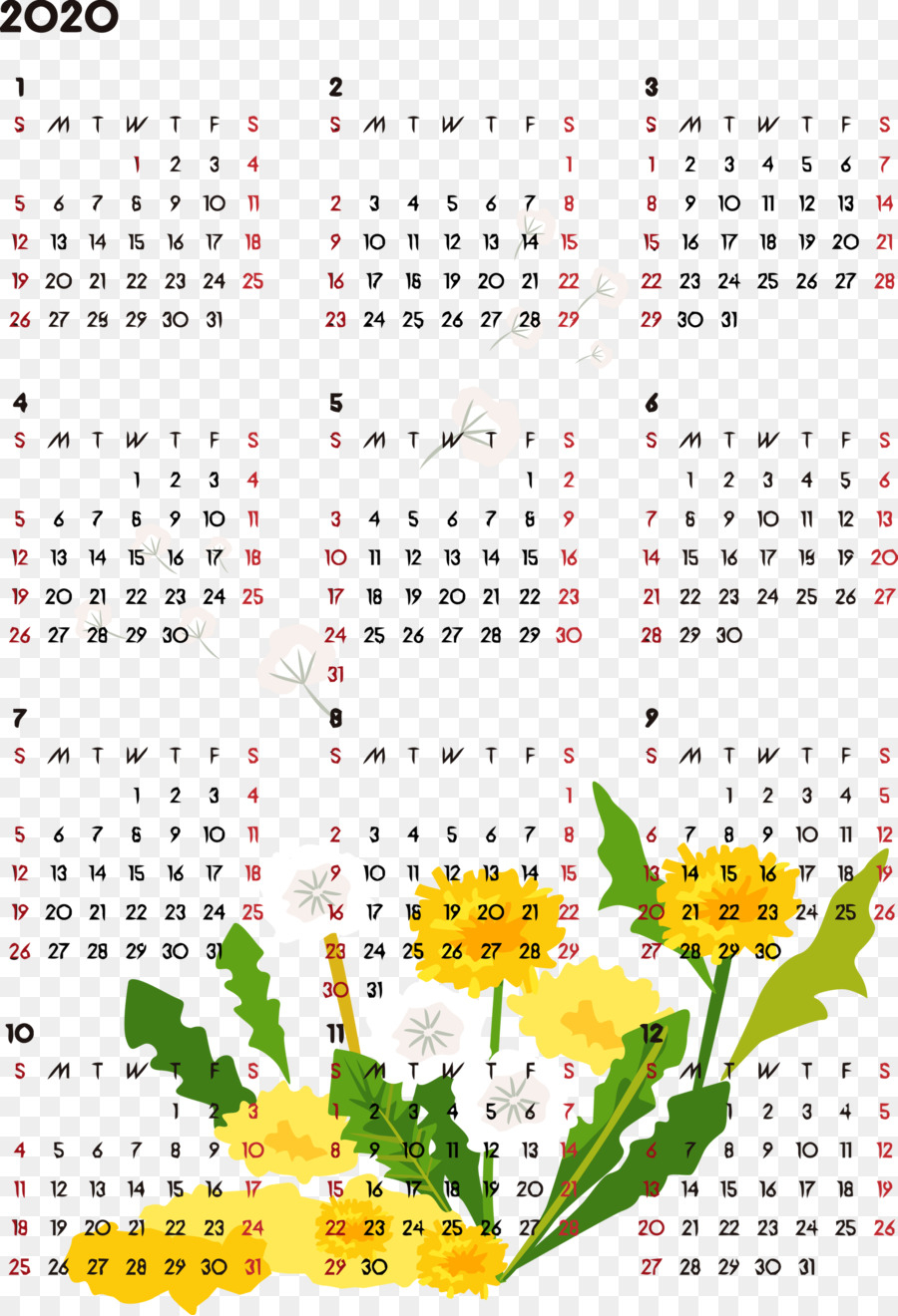 2020 Yearly Calendar Printable 2020 Yearly Calendar Year intended for 2020 Ugadi Date