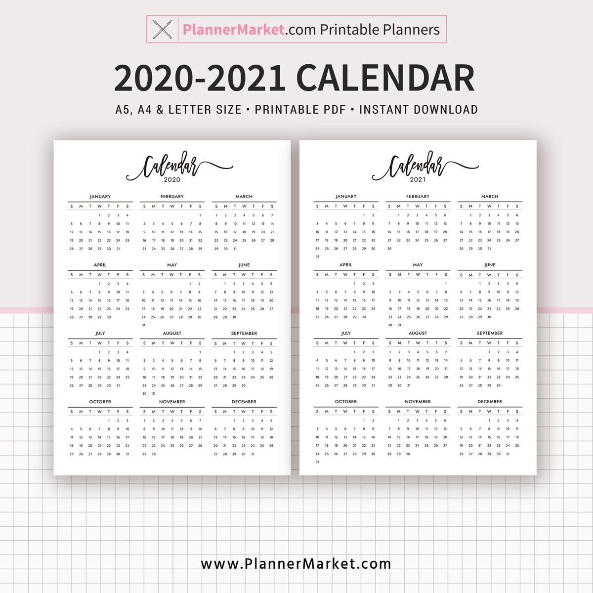 20202021 Calendar Printable, Year At A Glance, Filofax A5, A4, Letter  Size, Planner Template, Planner Inserts, Planner Refills, Instant Download with regard to Year At A Glance Calendar Printable