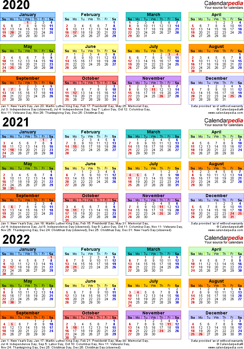 20202022 Three Year Calendar  Free Printable Microsoft regarding 3 Year Calendar 2020 To 2021 Printable