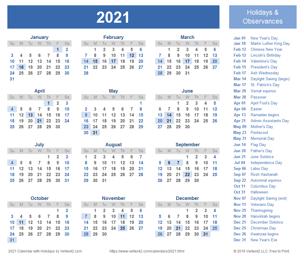 2021 Calendar Templates And Images within Vertex Calendar 2020