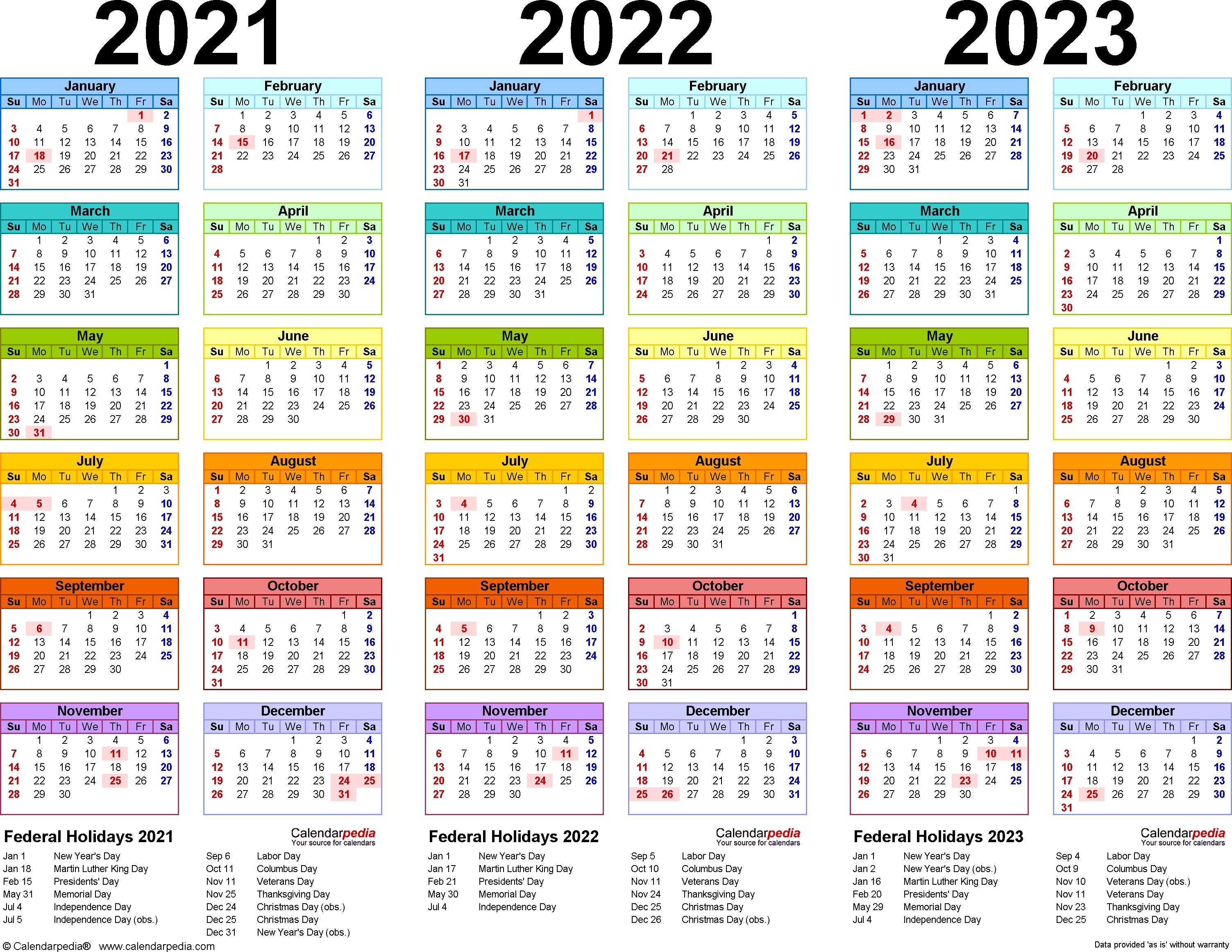 202120222023 Calendar – 4 Threeyear Printable Pdf inside Three Year Calendar Printable