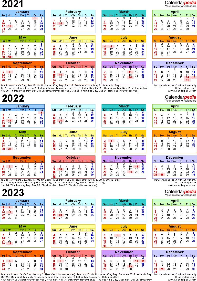 20212023 Three Year Calendar  Free Printable Pdf Templates intended for Broadcast Calendar 2021