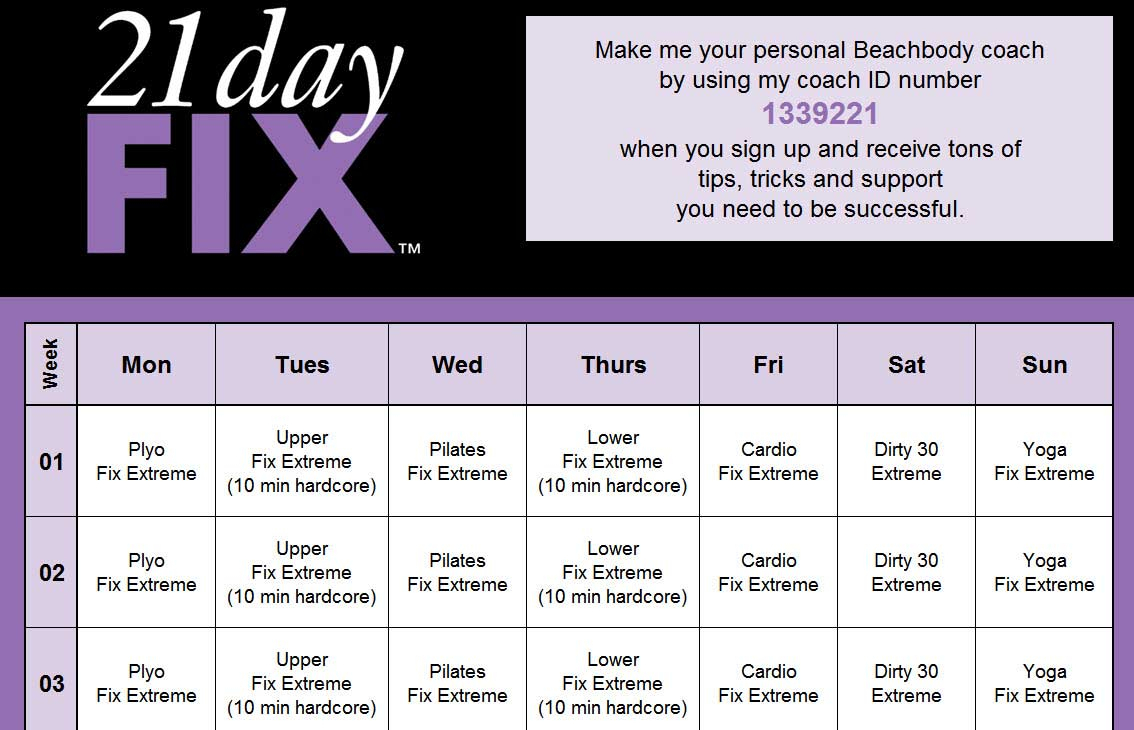 21 Day Fix Calendar – Calendar Yearly Printable pertaining to 21 Day Fix Piyo Hybrid