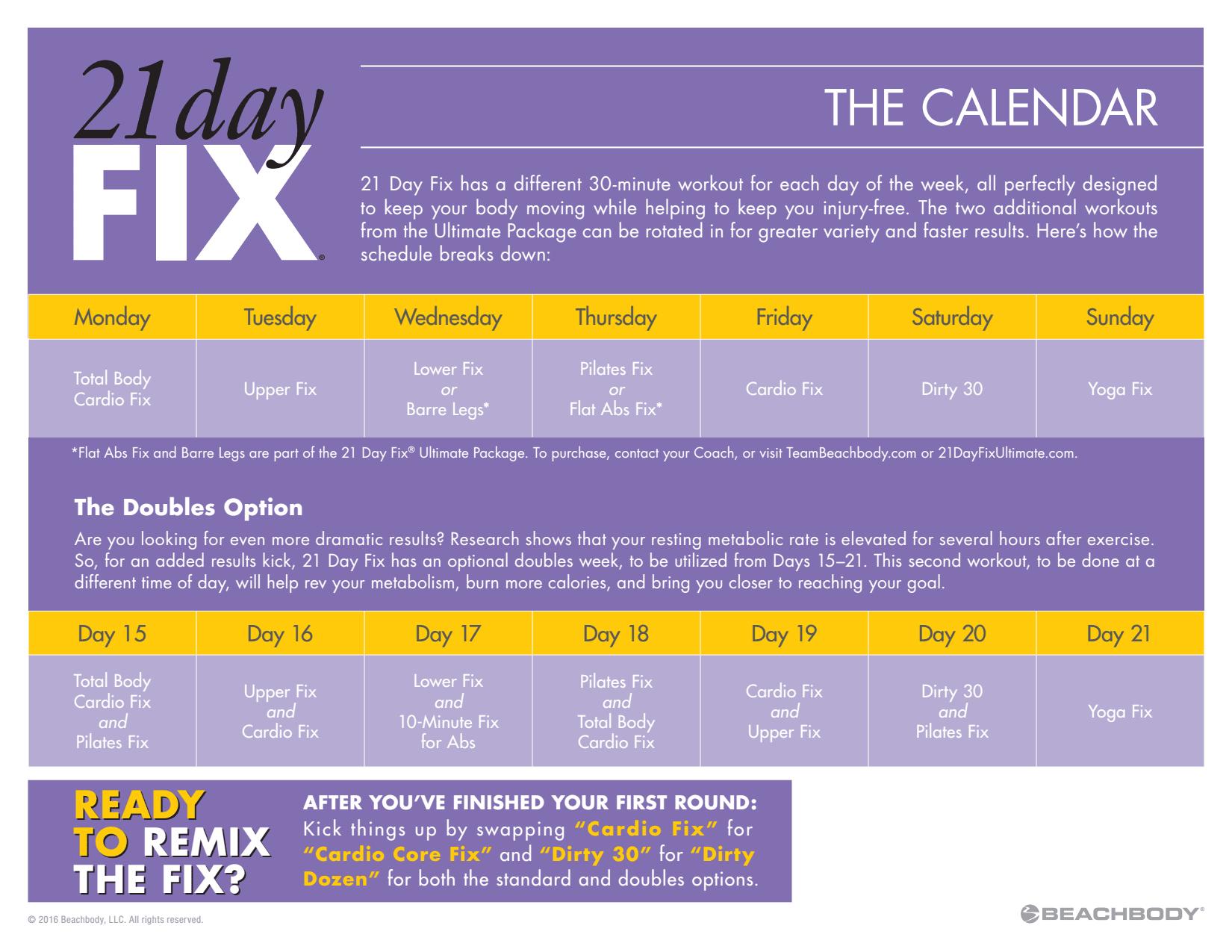 21 Day Fix Calendar – Printable Week Calendar for 21 Day Fix Hybrid Calendar
