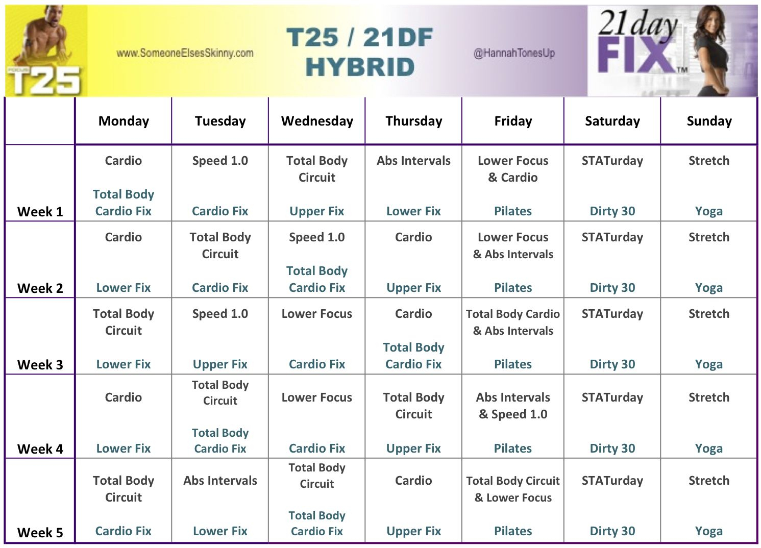 21 Day Fix T25 Hybrid | Fitness | 21 Day Fix Workouts throughout 21 Day Fix Piyo Hybrid