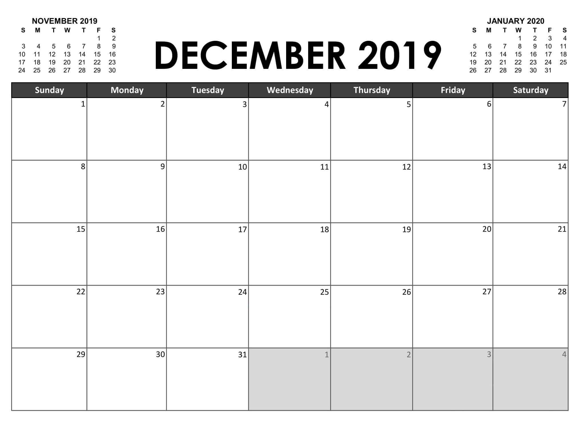 21+ Unique Fillable Calendar December 2019 Template with regard to Blank Fillable Calendar
