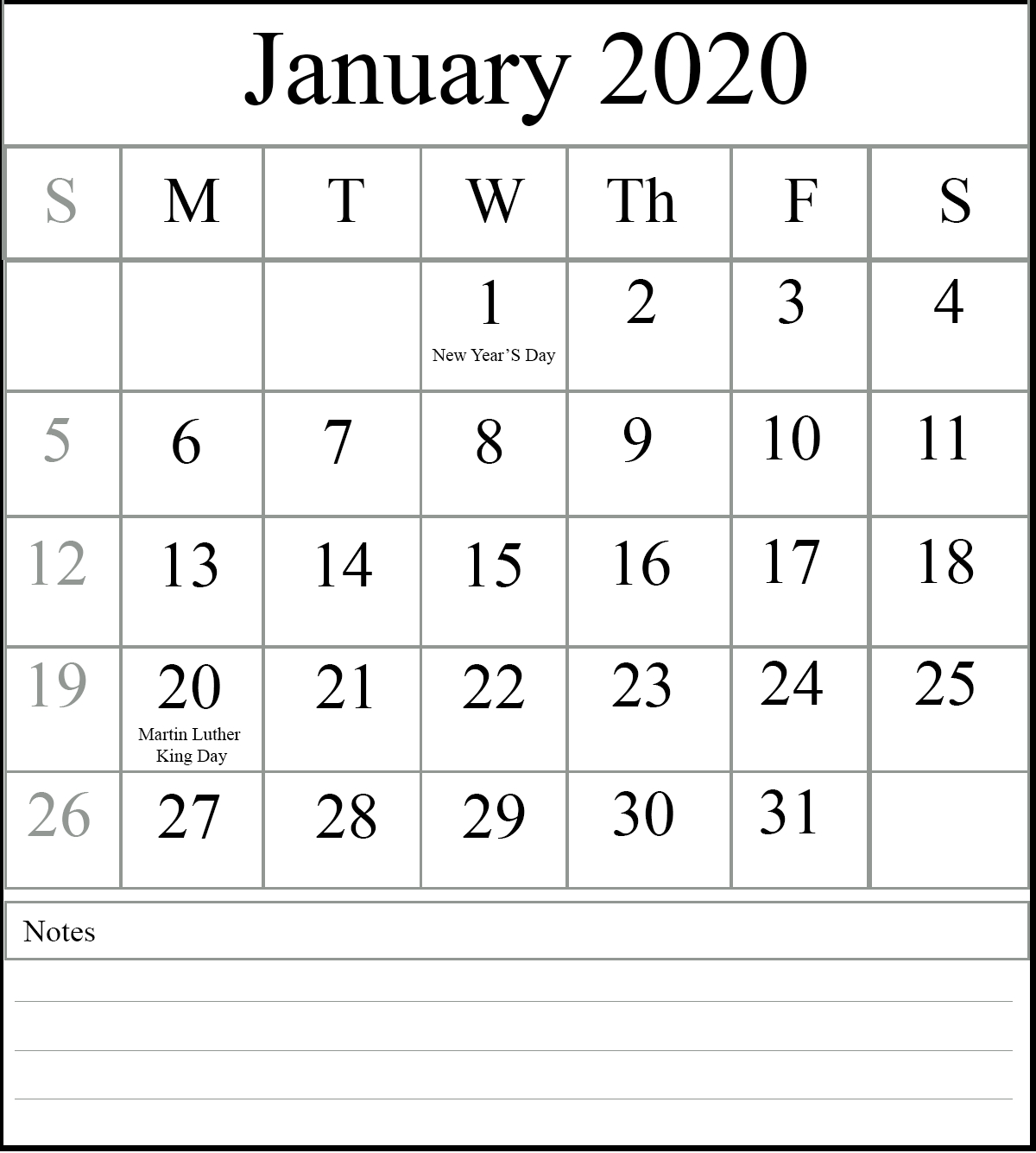 21+Free Blank Calendar January 2020 Printable Fillable throughout 2020 Blank Calendar Pages
