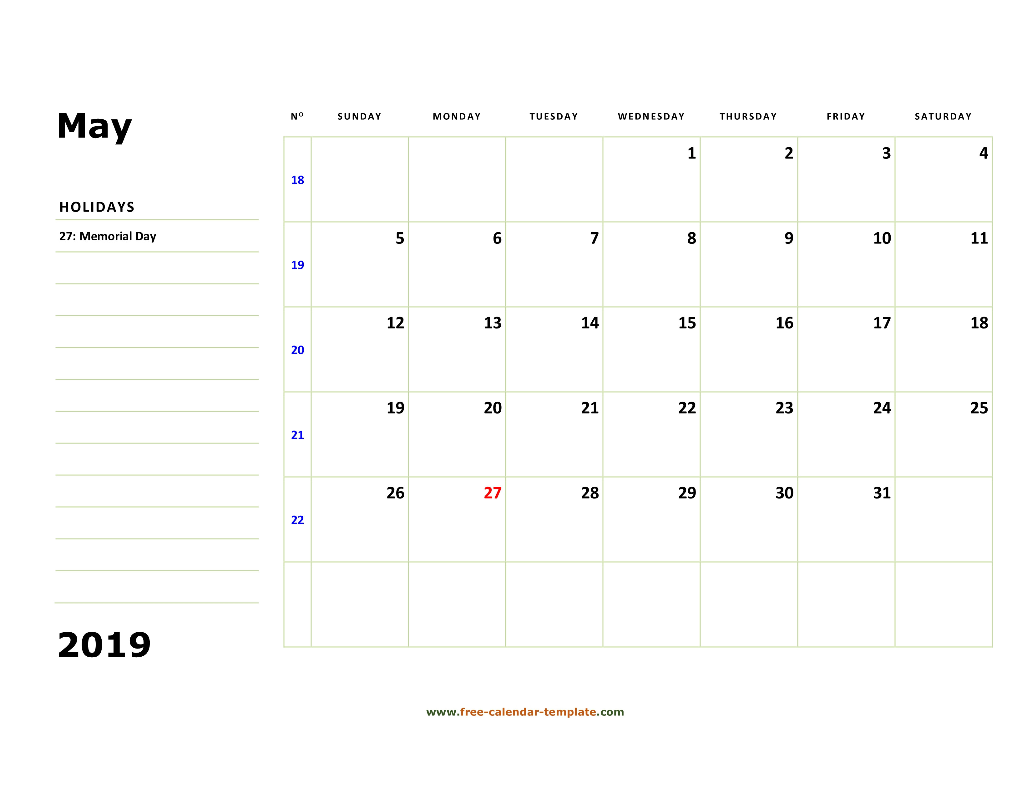 22 Large Grid Calendar 2019 | Andaluzseattle Template Example intended for Large Grid Calendar Printable
