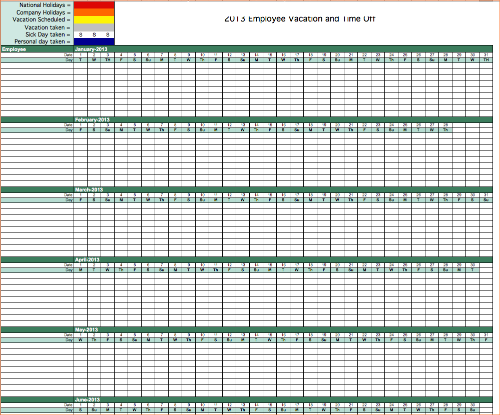 25 Images Of Vacation Schedule Template Monthly   Somaek intended for Employee Vacation Tracking Calendar