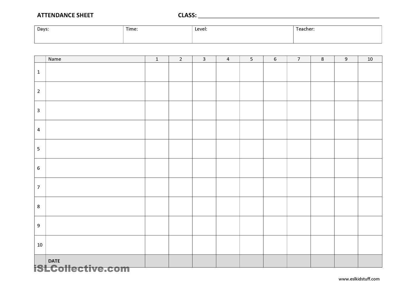 25+ Printable Attendance Sheet Templates [Excel  Word pertaining to Printable Children's Church Sign In Sheet Template