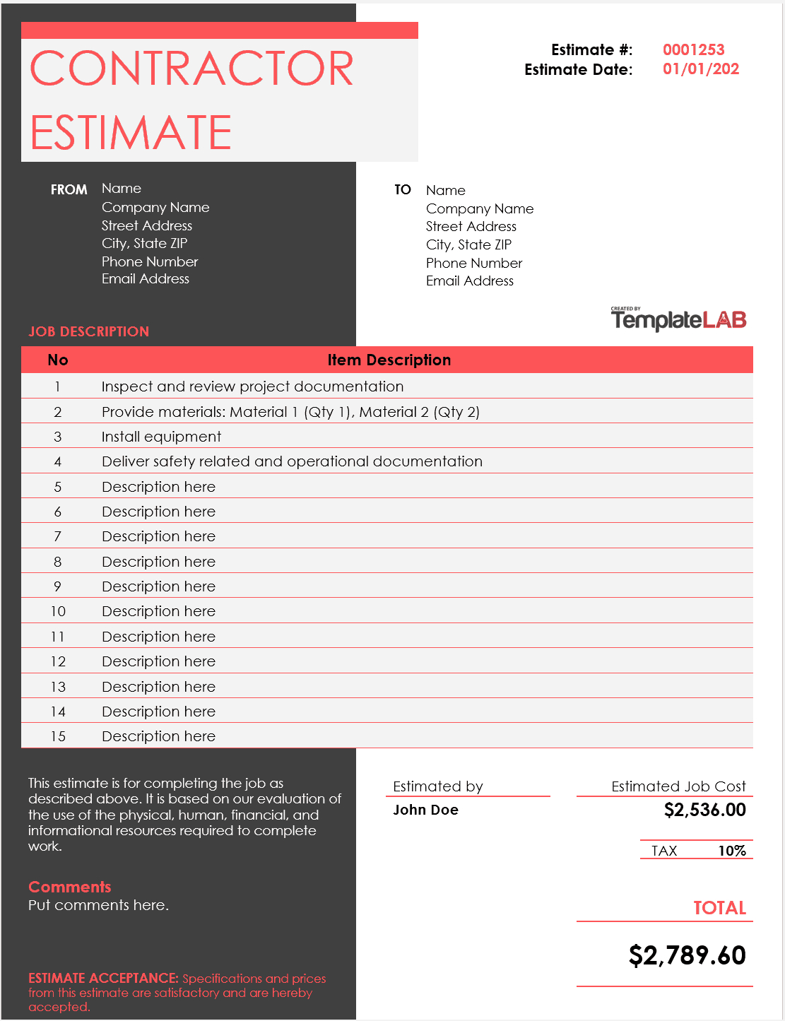 28 Free Estimate Template Forms [Construction, Repair pertaining to Painting Estimate Form