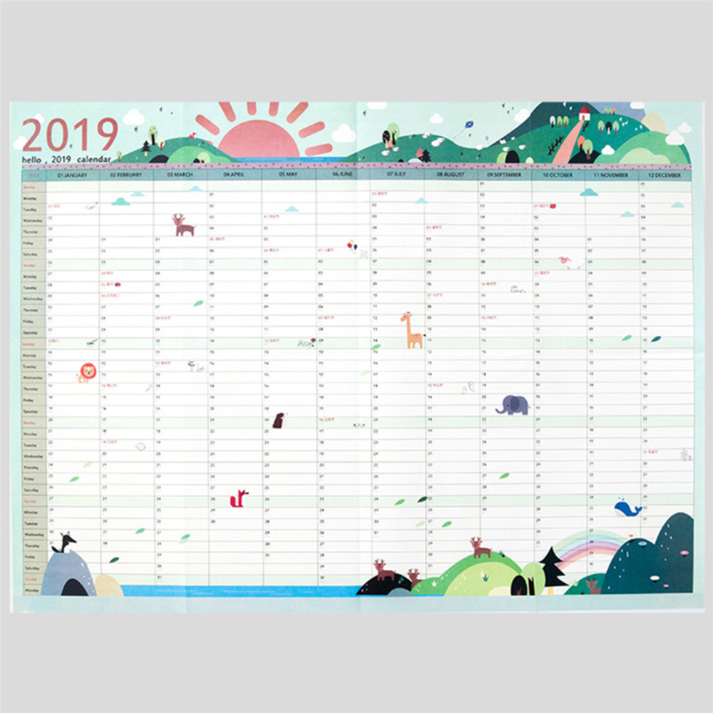 2Pcs 2019 Wall Calendars 365 Day Countdown Learning Schedule with 365 Day Countdown Calendar