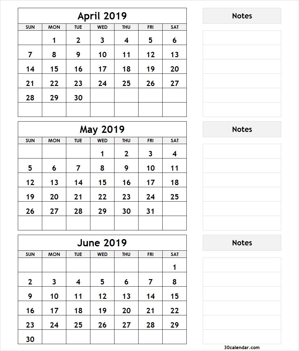 3 Month April May June 2019 Calendar | Calendar June, August regarding 3 Month Calendar Print