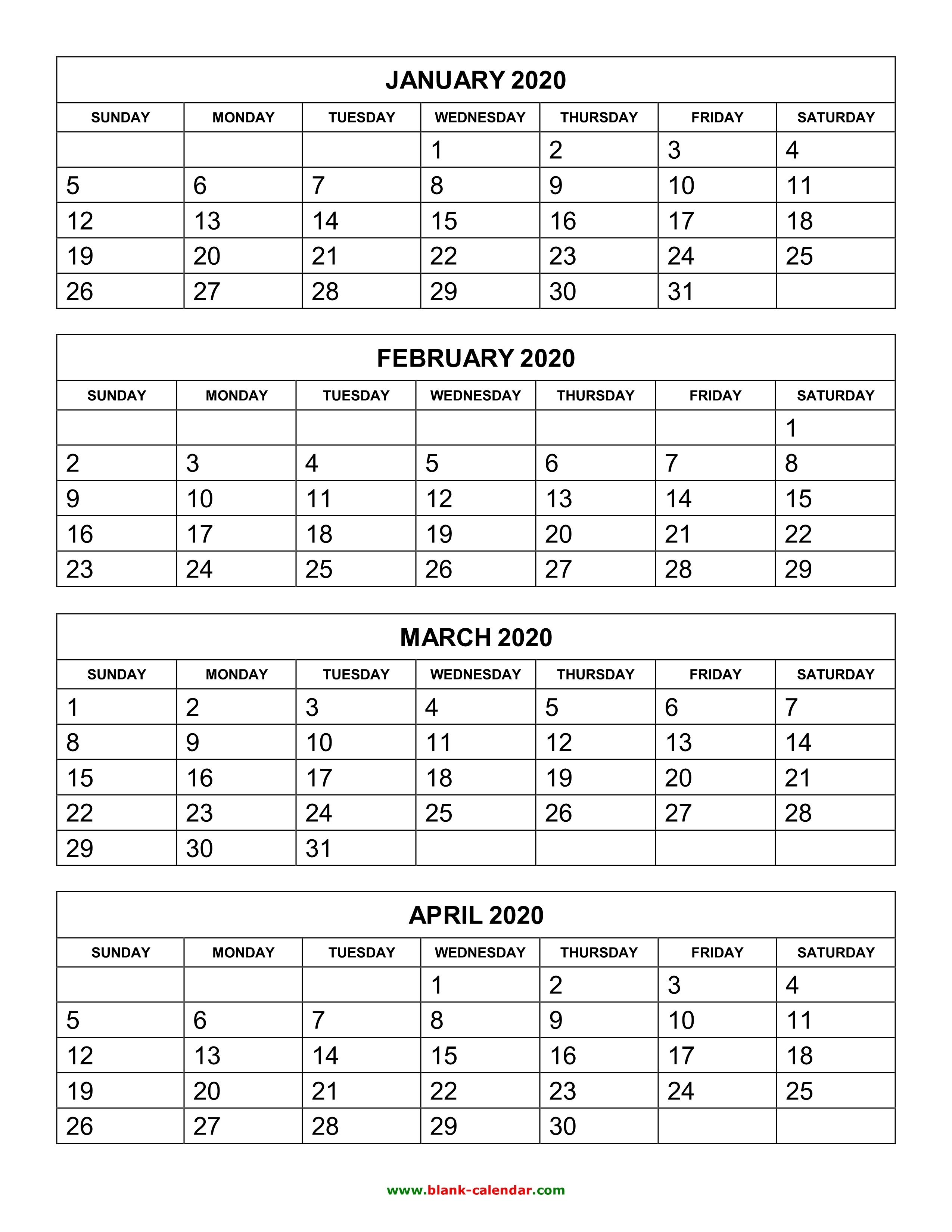 3 Month Blank Calendar 2020 | Calendar Template Information for 3 Month Printable Calendar 2020