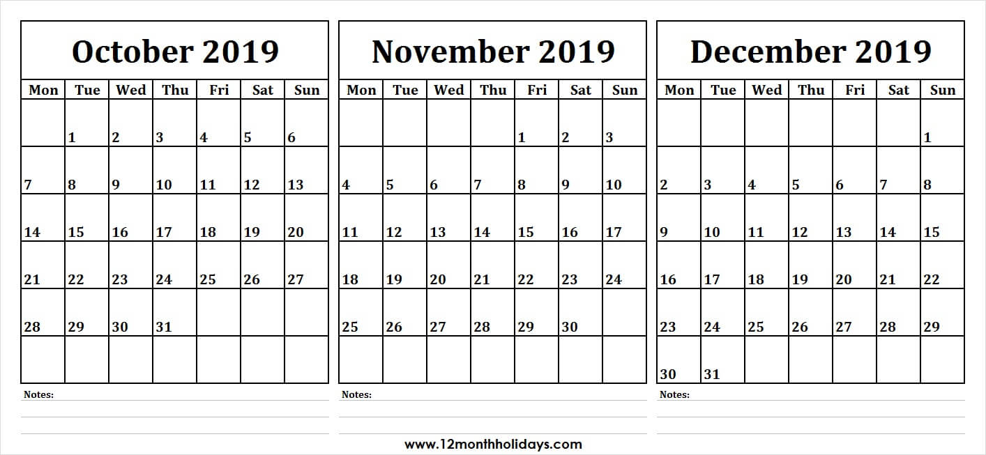 3 Month Calendar 2019 October November December | Monthly throughout Three Month Calendar Template