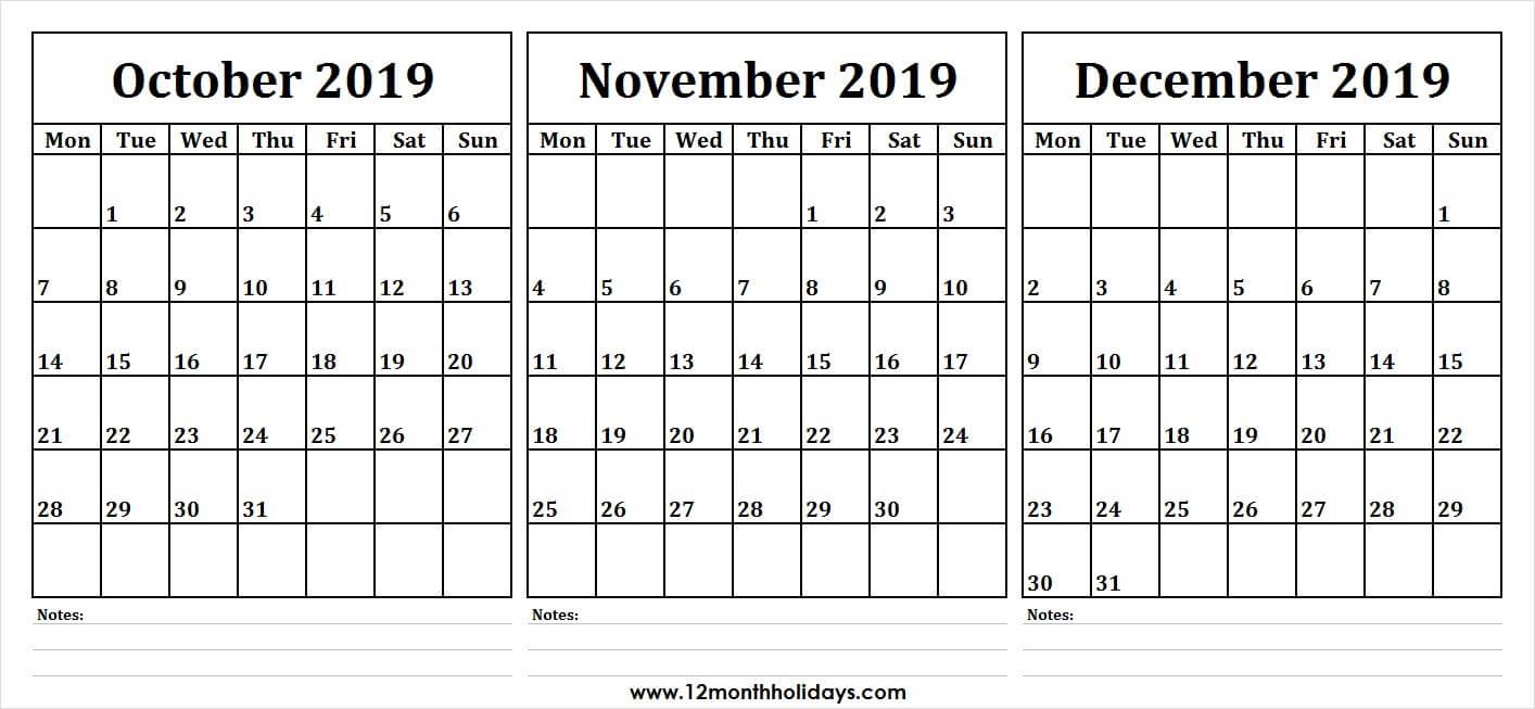 3 Month Calendar 2019 October November December | Monthly throughout Three Month Calendar Template