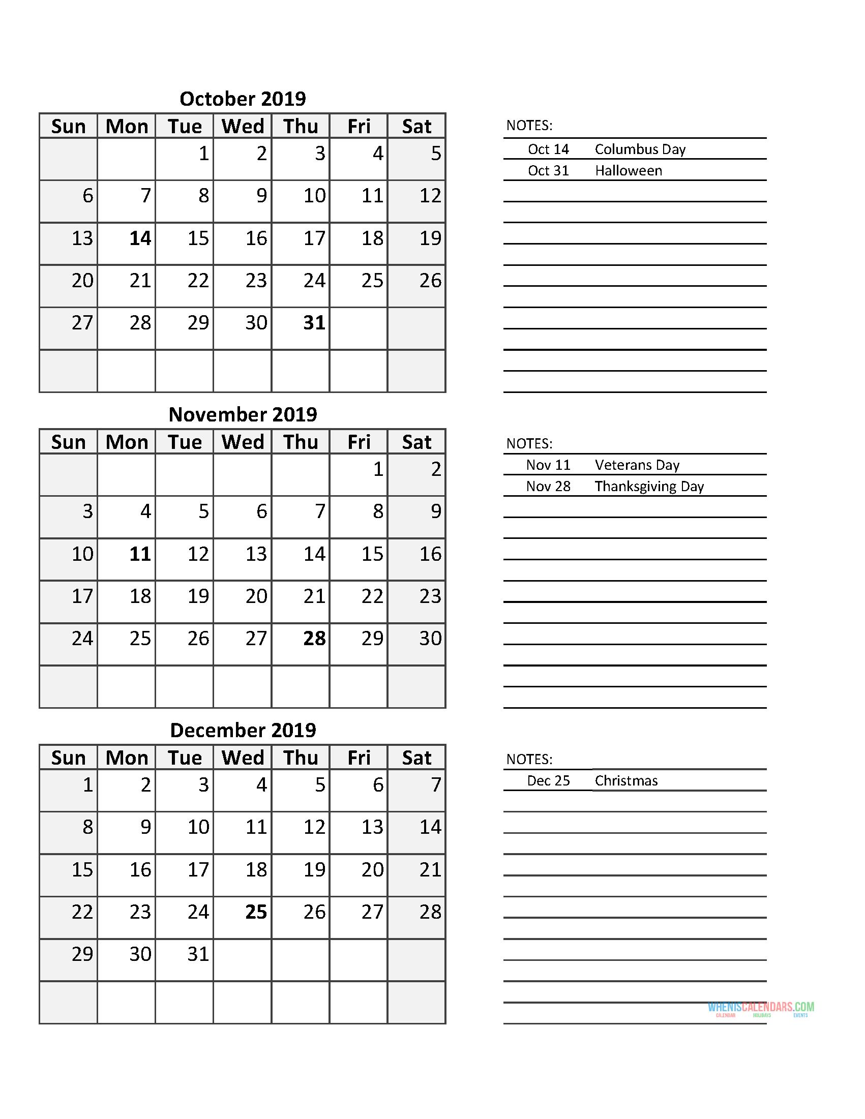 3 Month Calendar 2019 Quarterly Calendar Fourth Quarter 2019 with Quarterly Calendar Template Excel