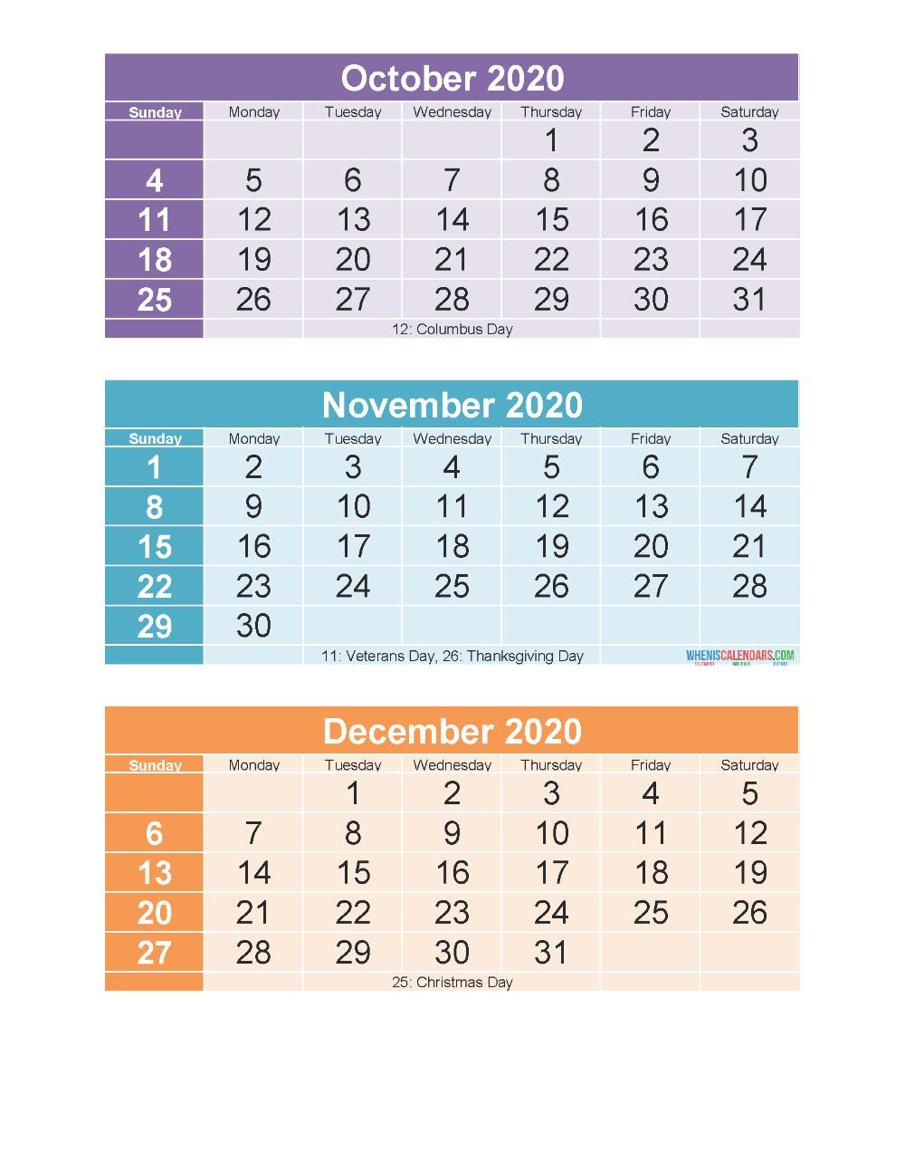 3 Month Calendar 2020 Printable Oct Nov Dec Printable | Free intended for Nov Dec 2020 Calendar