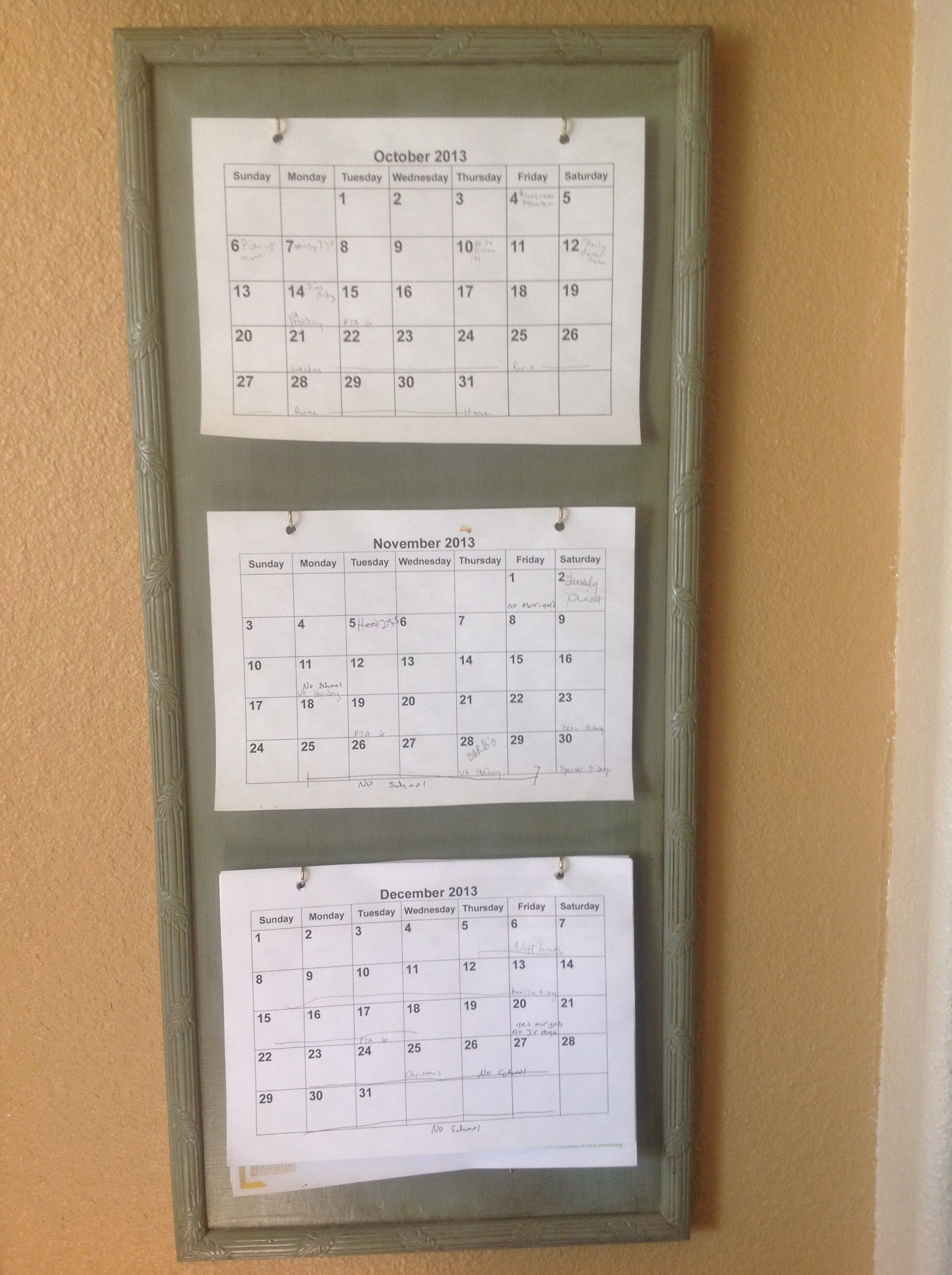 3 Month Calendar Holder Diy  Great For Planning And with regard to 3 Month Calendar Holder