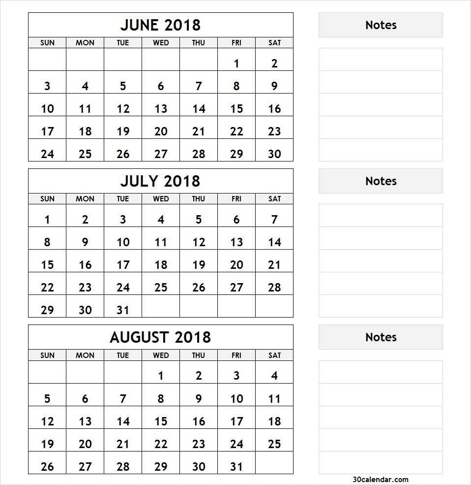 3 Month Calendar June July August 2018 | Calendar June, July with 3 Month Calendar Print