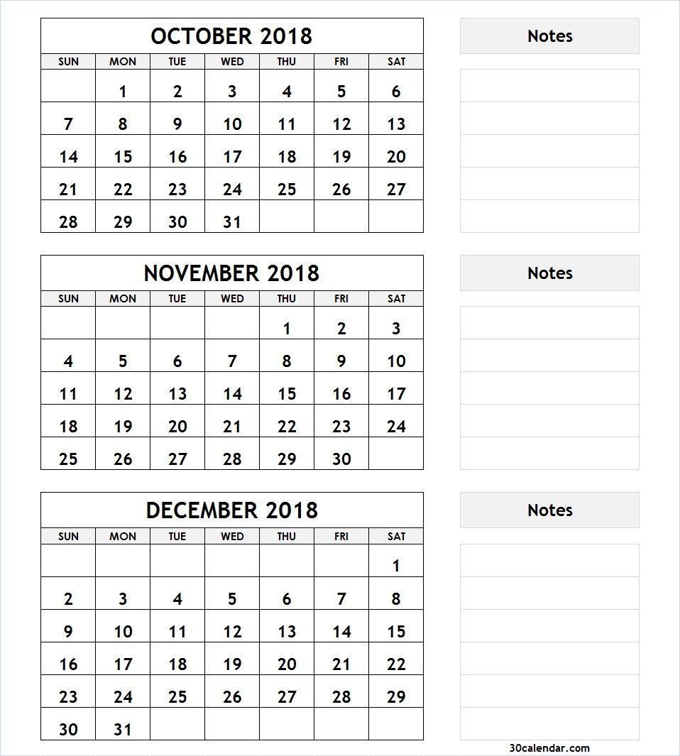 3 Month Calendar October November December 2018 | December intended for Printable Calendar 3 Month