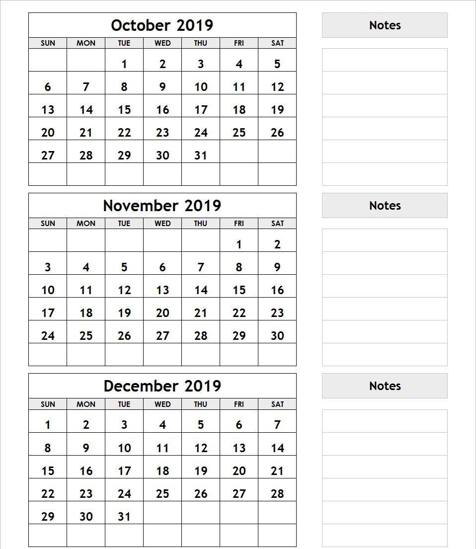 3 Month Calendar October November December 2019 | Printable in Printable 3 Month Calendar