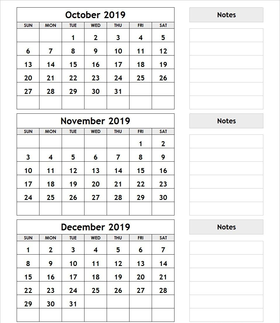 3 Month Calendar October November December 2019 | Printable regarding 3 Month Calendar Print