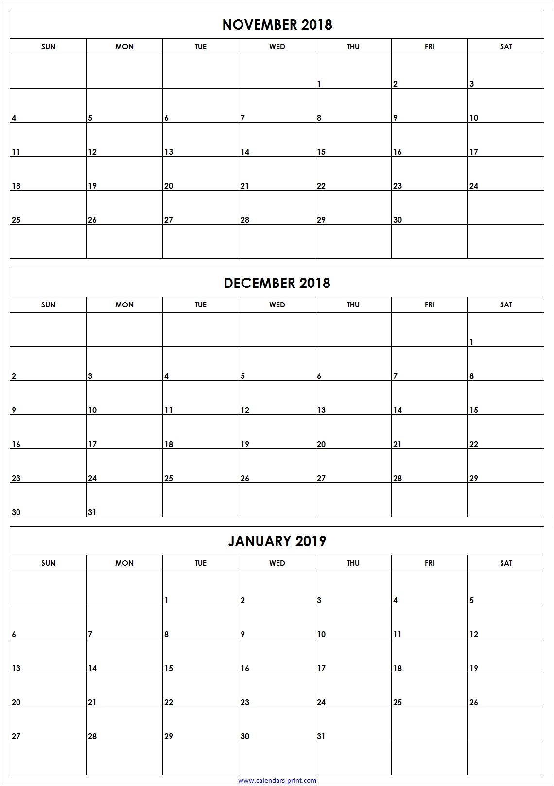 3 Month Calendar Printable Novemberdecemberjanuary intended for Printable 3 Month Calendar