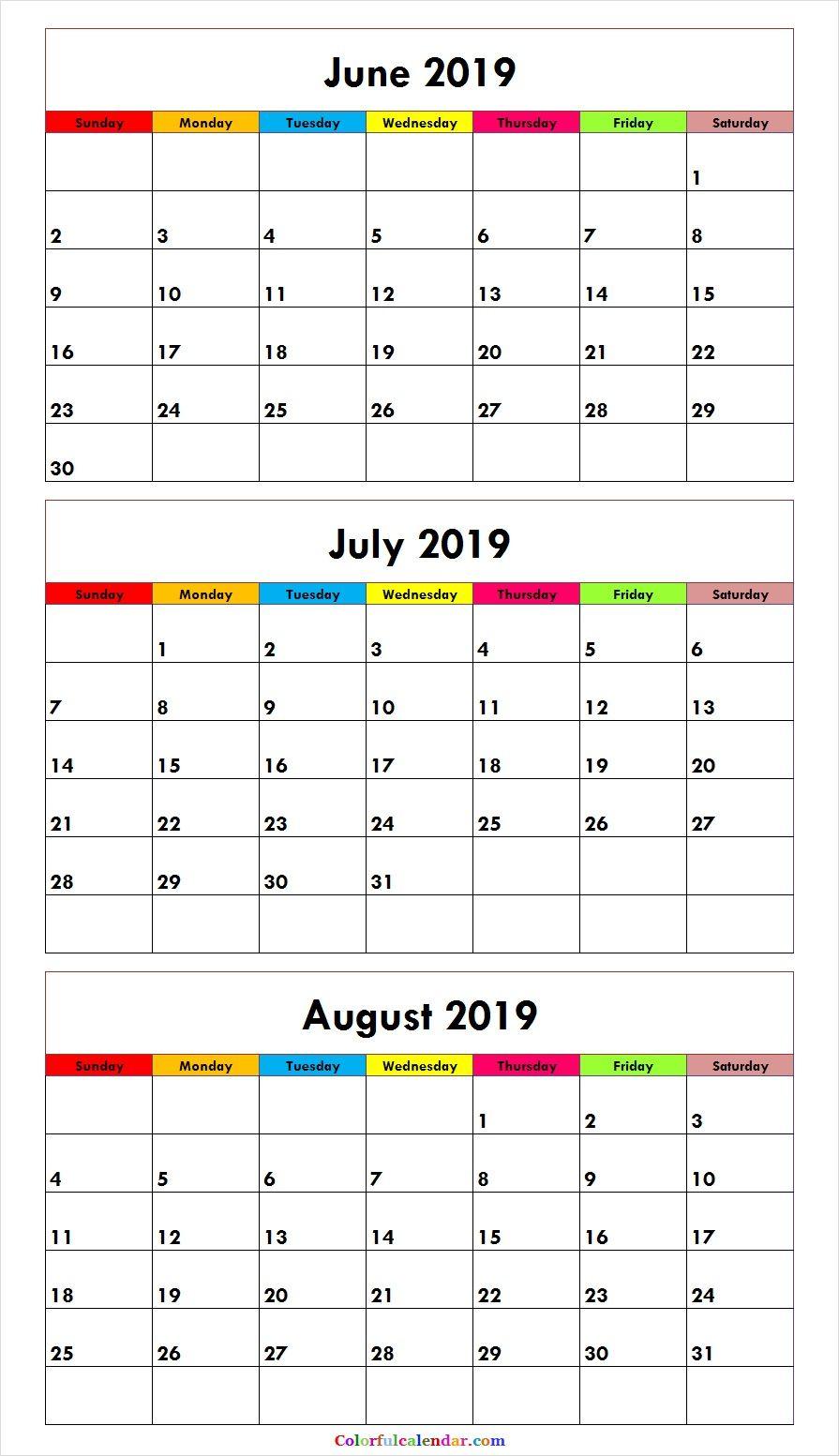 3 Month June July August 2019 Calendar Green | Calendar June in Printable 3 Month Calendar