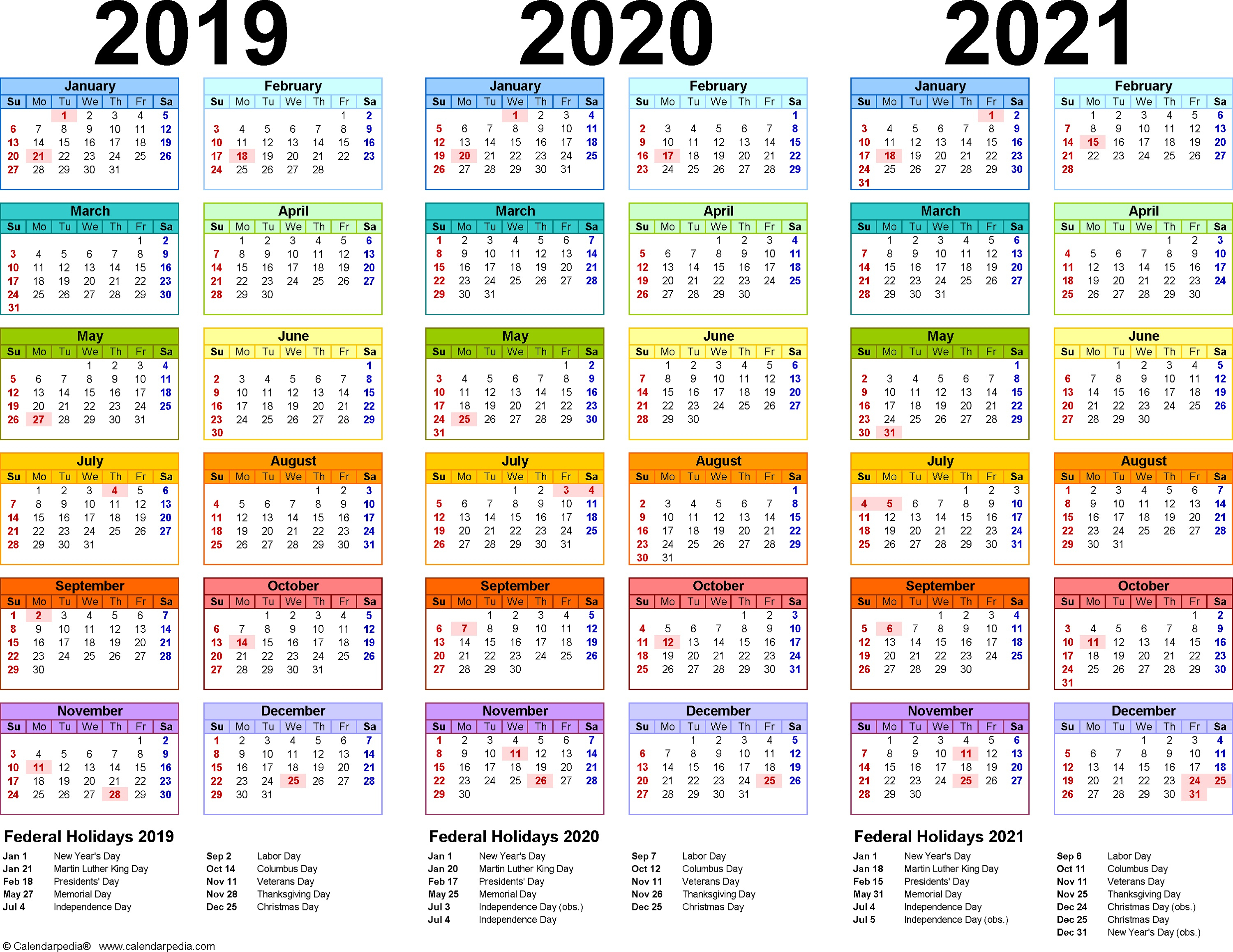 3 Year Calendar Printable 2019 2020 2021 For All Ages For within 3 Year Calendar 2020 To 2021 Printable