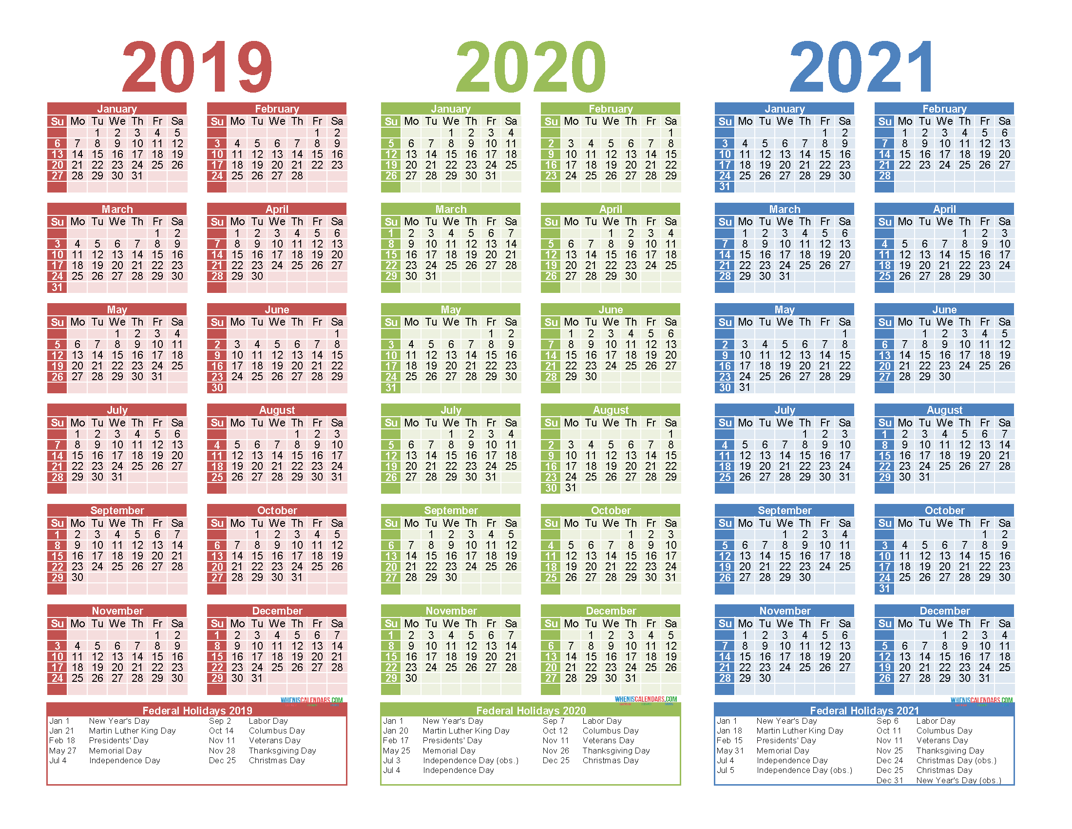 3 Year Calendar Printable 2019 2020 2021 Free Calendar with regard to 3 Year Calendar 2020 To 2021 Excel
