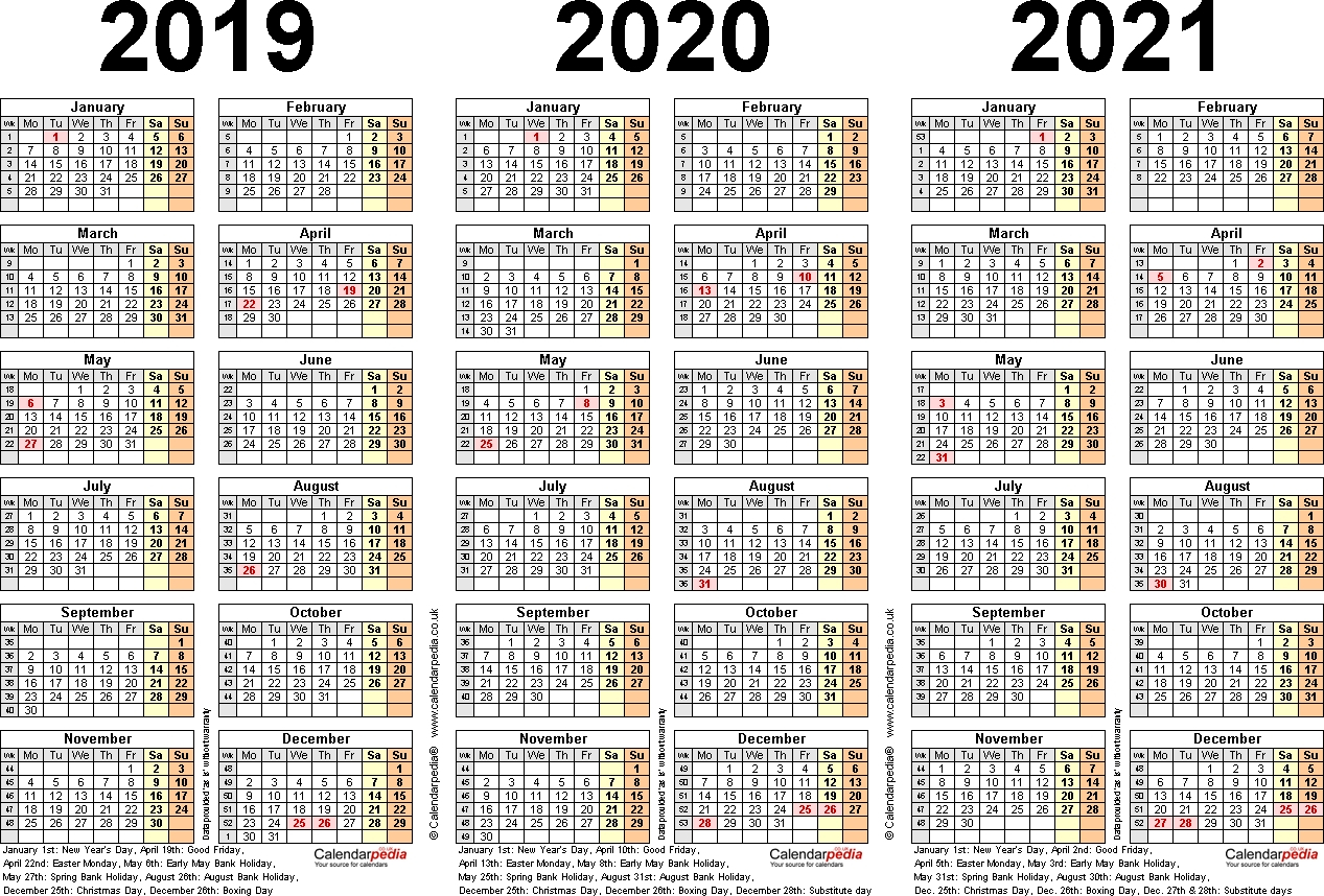 3 Year Printable Calendar 2019 2020 2021  Calendar in Three Year Calendar Printable