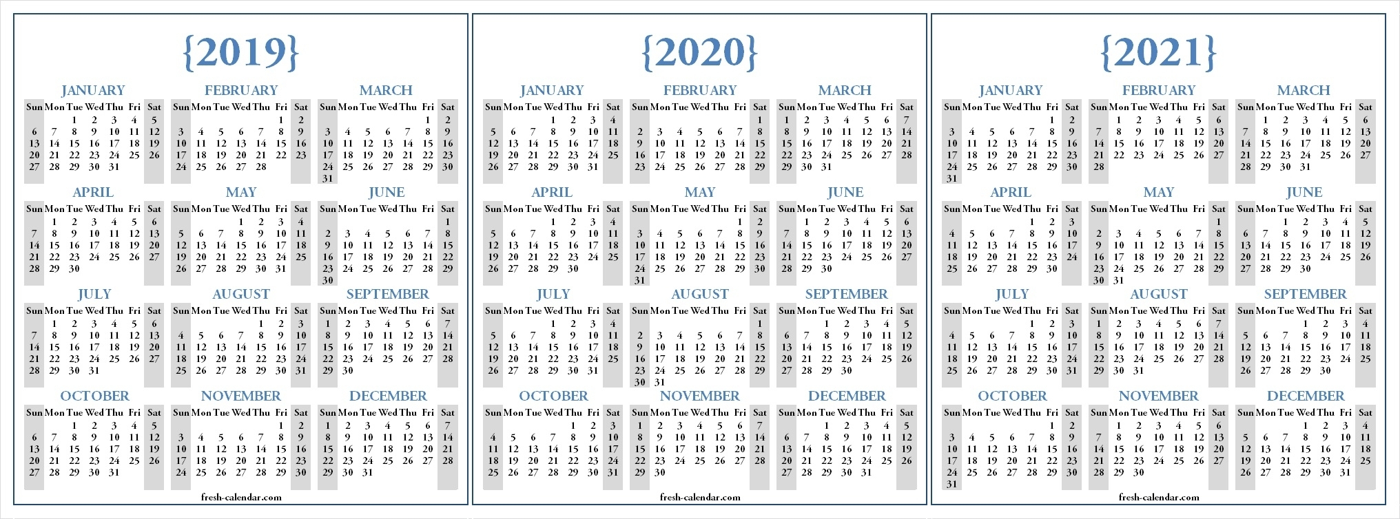 3 Year Printable Calendar 2019 2020 2021  Calendar with regard to 3 Year Calendar Printable