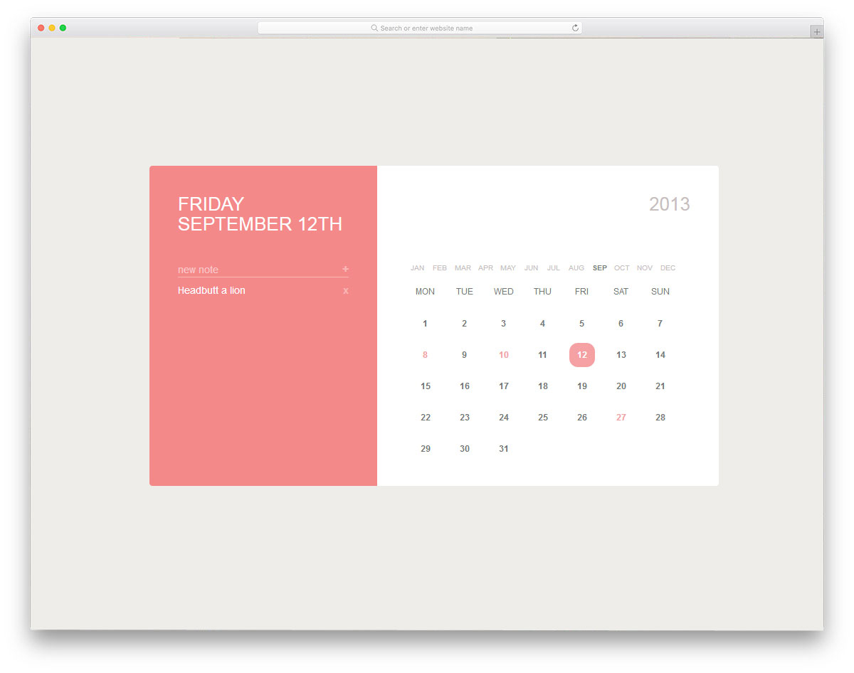 30 Cool Css Calendar Inspiration For Your Web And Mobile throughout Calendar Template Html Css