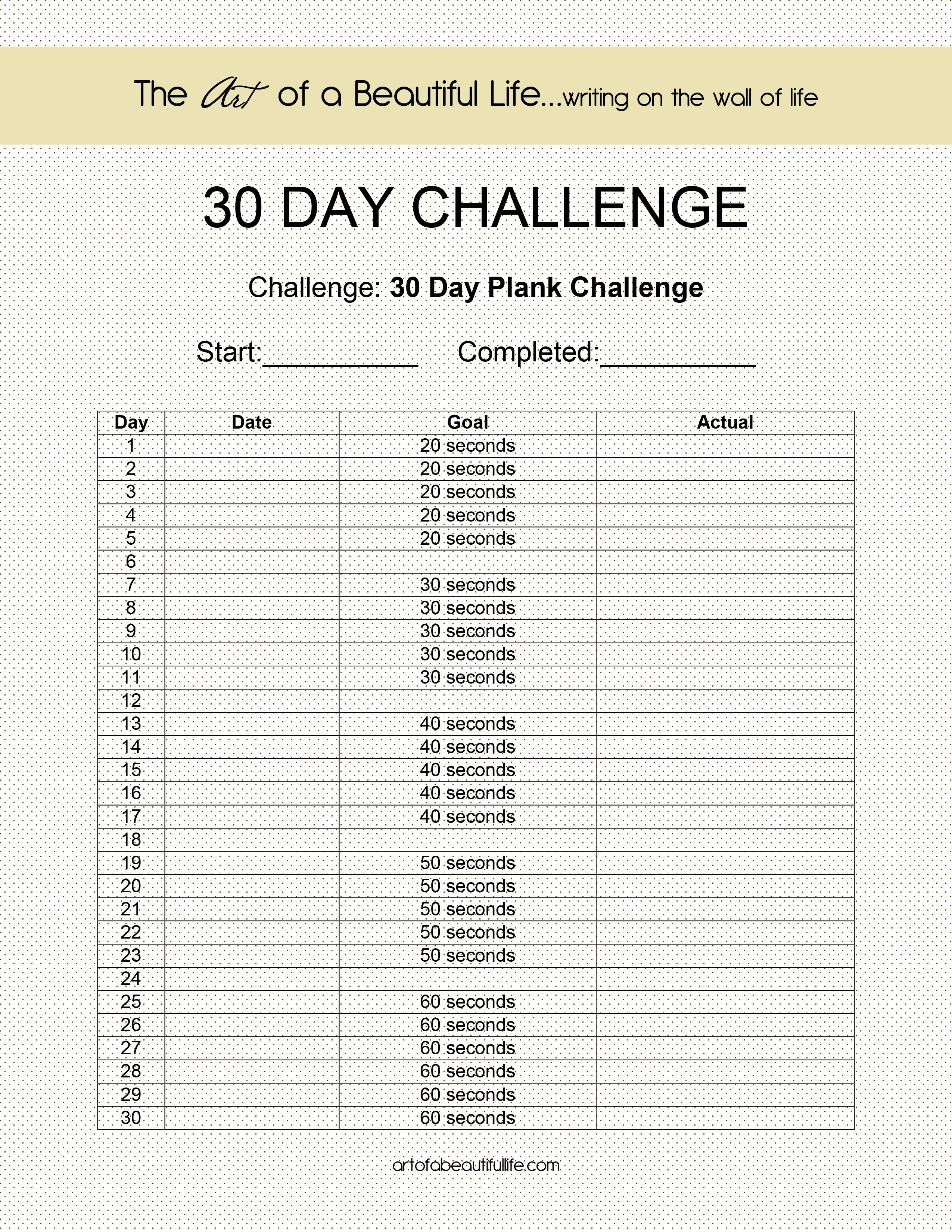30 Day Challenge  Easy Plank | 30 Day Challenge, 30 Day for 30 Day Plank Challenge Printable