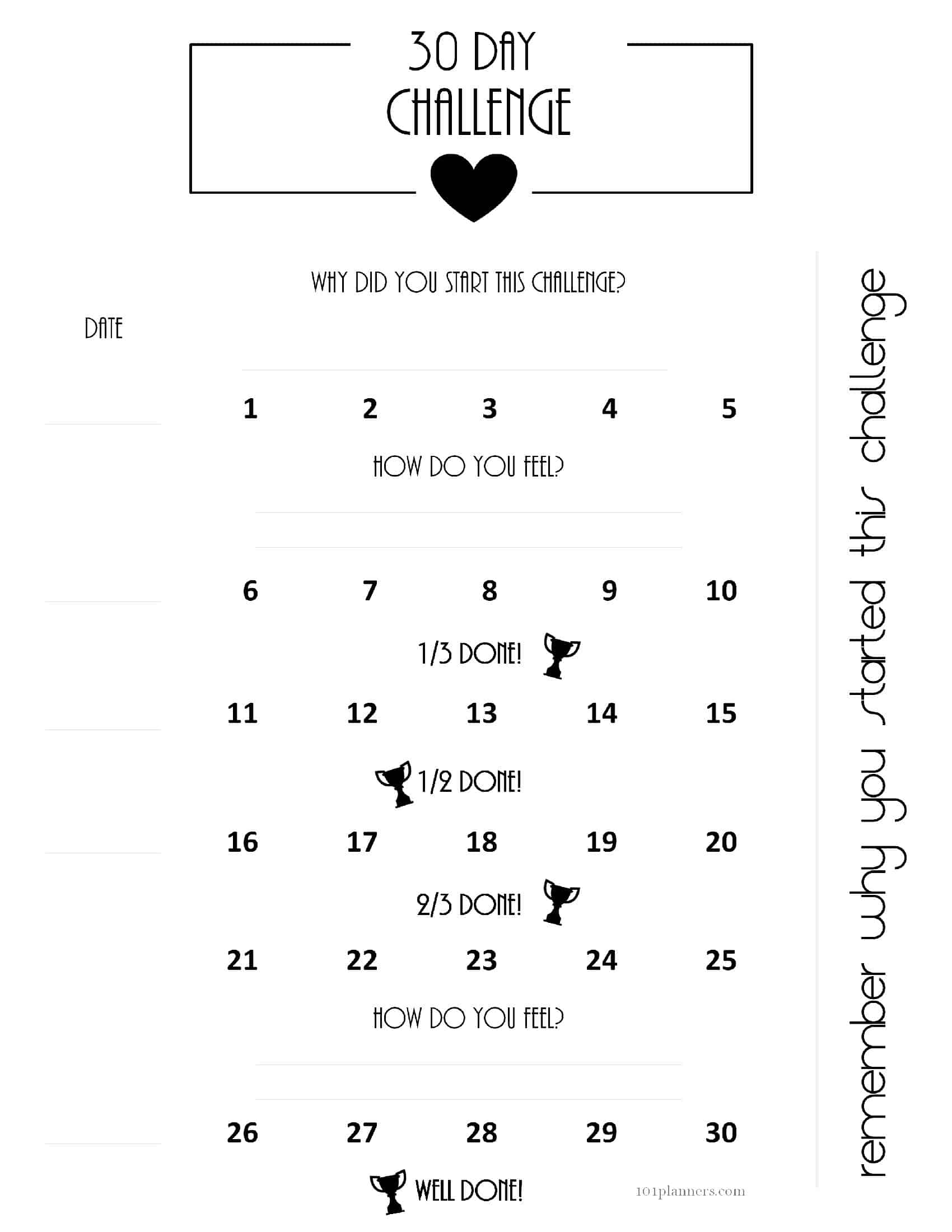 30 Day Challenges regarding Blank 30 Day Challenge Calendar