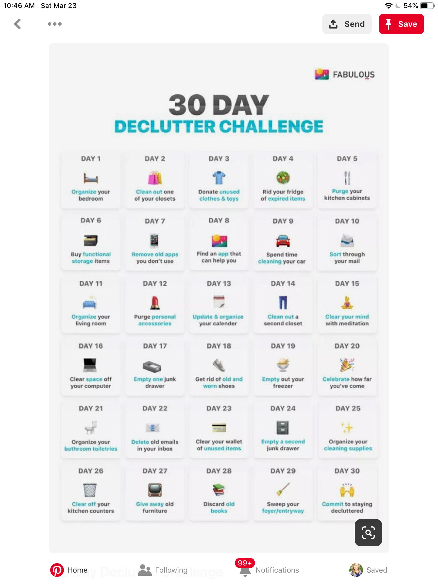 30 Day Declutter Challenge Calendar | Declutter, 30 Day for 30 Day Declutter Calendar