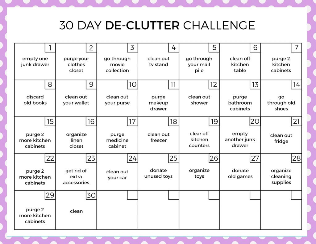 30 Day Declutter Challenge | Challenges, Declutter, 30 Day with regard to 30 Day Declutter Calendar