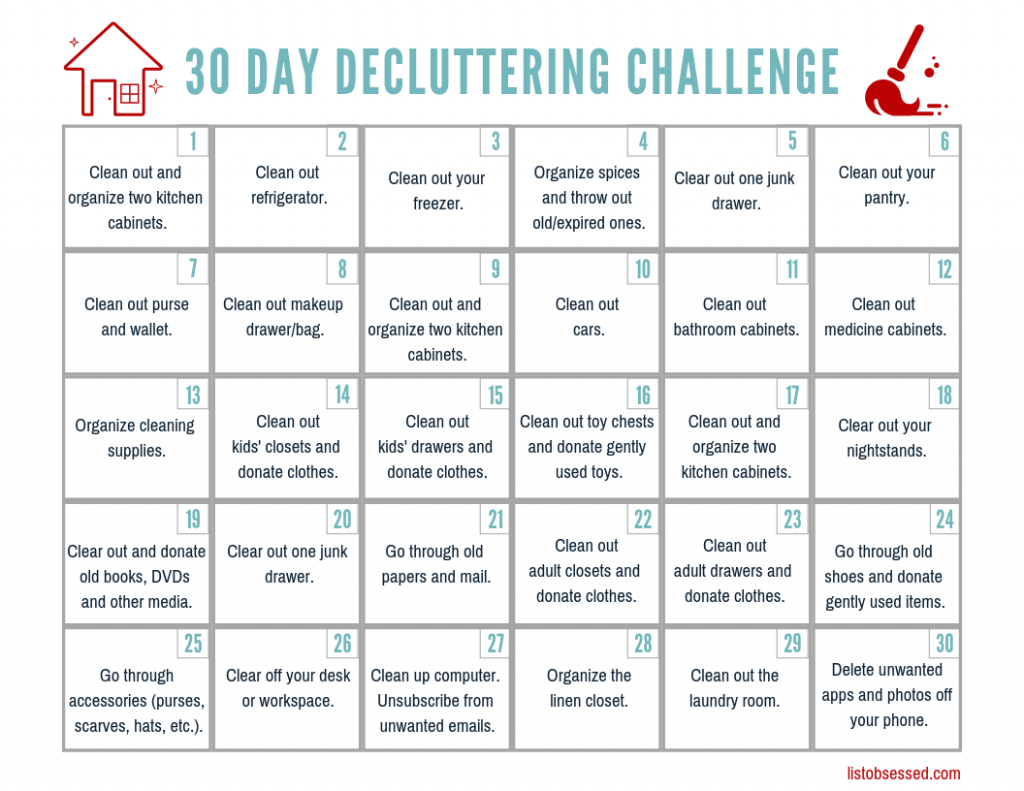 30 Day Declutter Challenge  Free Printable Guide  List with regard to 30 Day Declutter Calendar