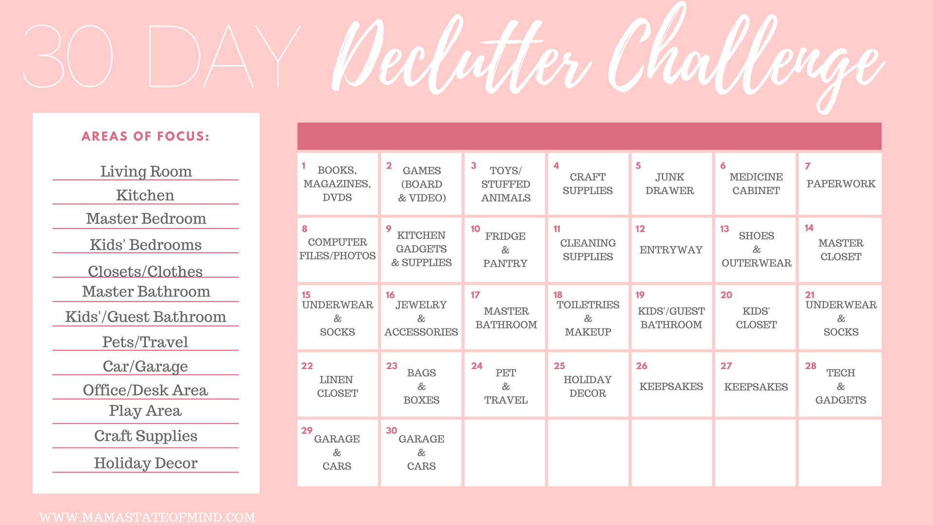 30 Day Declutter Challenge  Mama State Of Mind for 30 Day Declutter Calendar