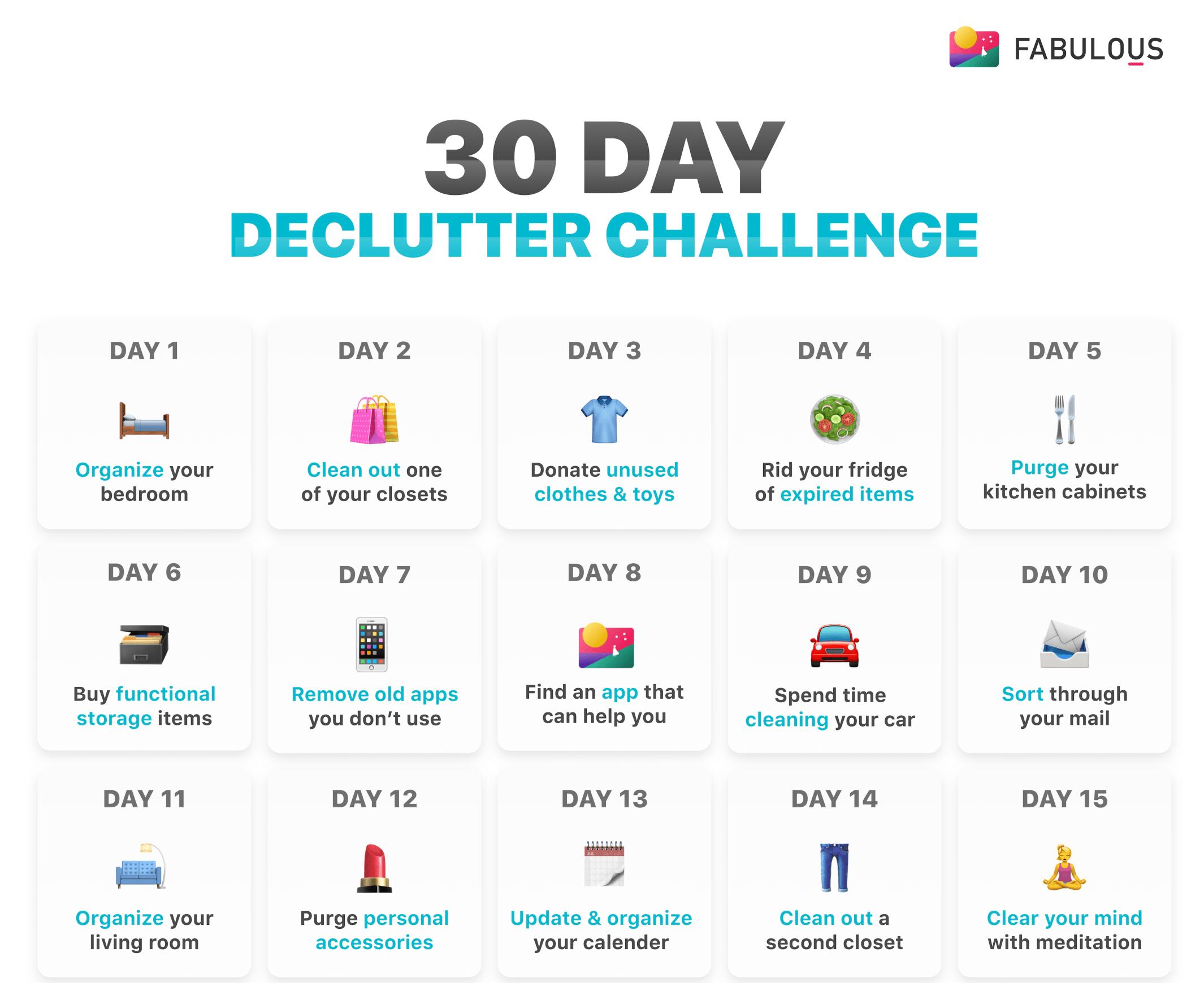 30 Day Declutter Challenge  Minimalist.mindset  Medium inside 30 Day Declutter Calendar