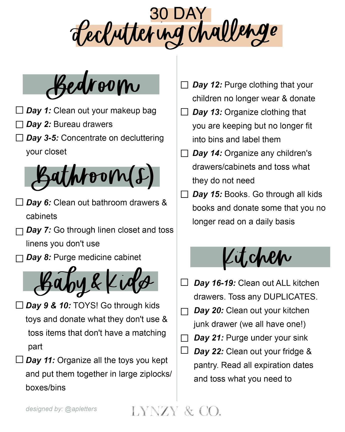 30 Day Decluttering Challenge & Printable – Lynzy & Co. throughout 30 Day Declutter Calendar
