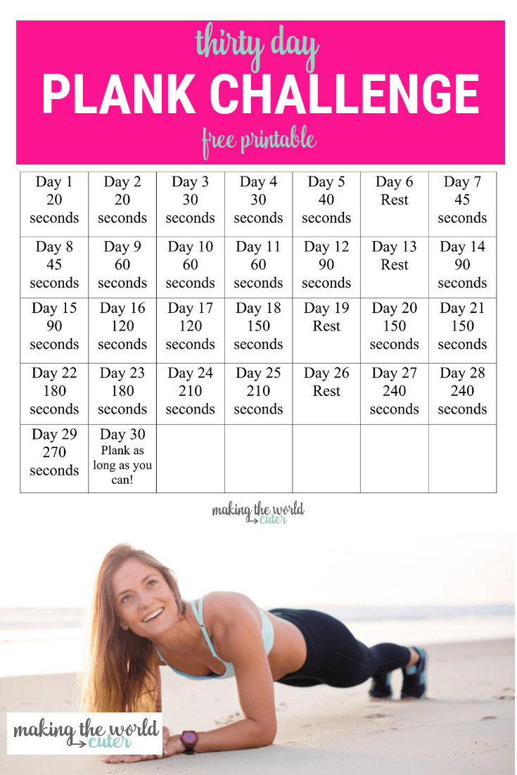 30 Day Plank Challenge Chart regarding 30 Day Plank Challenge Printable