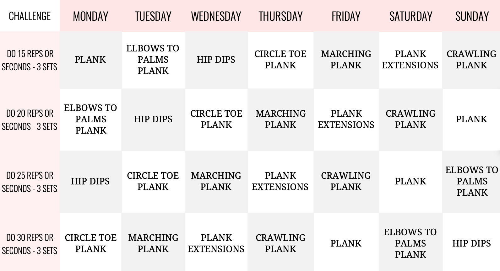 30 Day Plank Challenge For Tight, Toned, Flat Abs And Core inside 30 Day Plank Challenge Printable