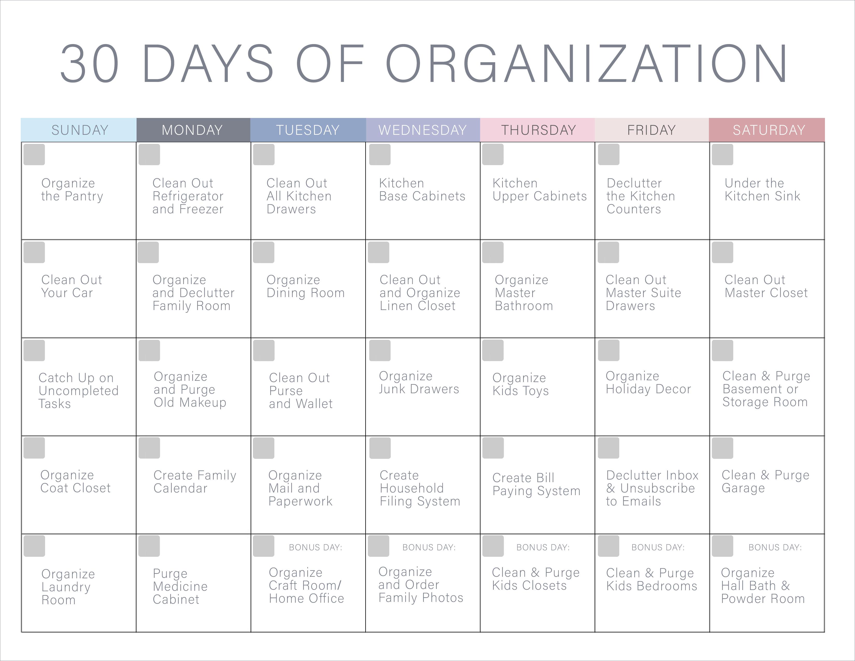 30 Days Of Organization Challenge  Declutter Your Home! regarding 30 Day Declutter Calendar